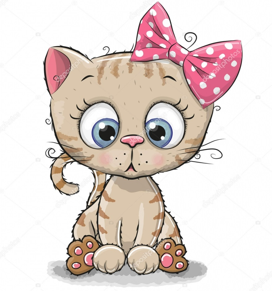 depositphotos 133984674 stock illustration cute cartoon kitten girl